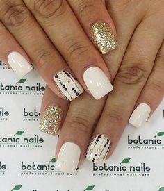 Square White and Gold nail Design