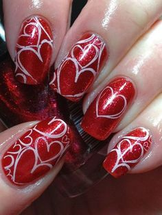 White Hollow Love Valentine Nail Design
