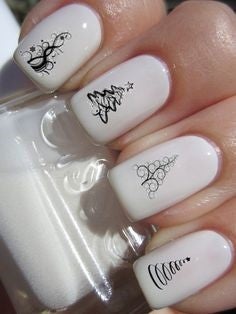 Christmas black and white nail design