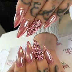 Rose Gold Chrome Nail Design-1