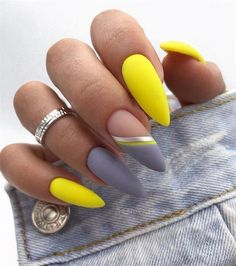 Pretty Nail Design-18 Yellow Stiletto nails