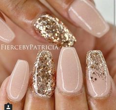 Christmas Gel Nail Design-14 Gold Sequins nails