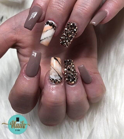 Studded Tiger Stripe Marble Nails