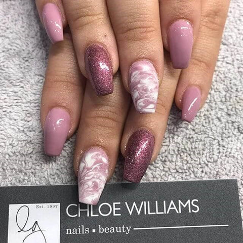 Squared Pink Ombre and Marbled Accent