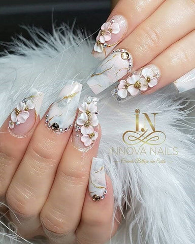 Glitter Silver Floral Marble Nail Manicure