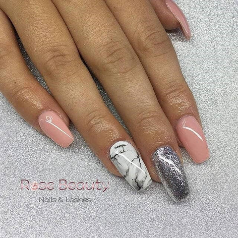 Easy Pink and Silver Squared Mani