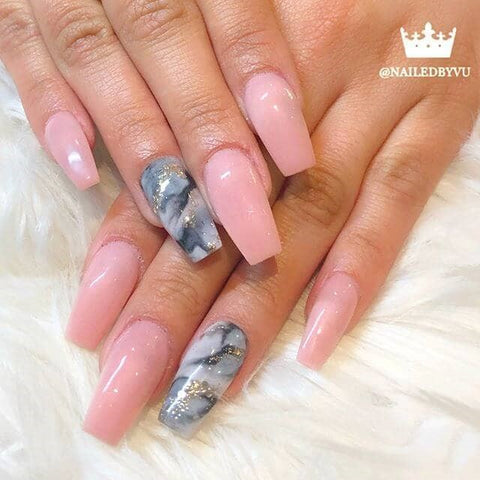 Pink Manicure with Granite Accent Marble Nail