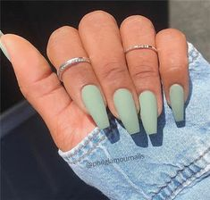 Green Matte Coffin Nail Design