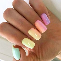 Rainbow gradient Square Nail Design