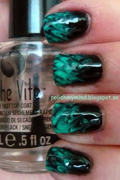 Green flame nail design