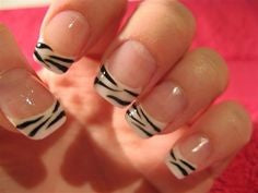 Black with white line nail design