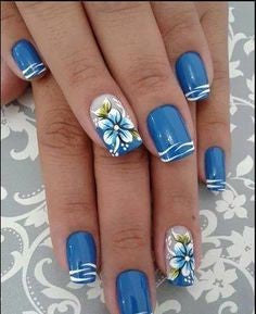 Flowers with blue marine nail design