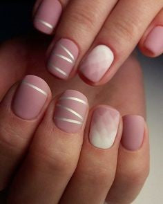 Simple white line nail design