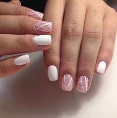White line nail design on pink background