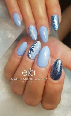 Blue Holographic Delicate Nail Design