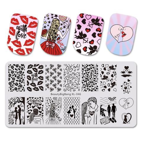 With love nail stamping