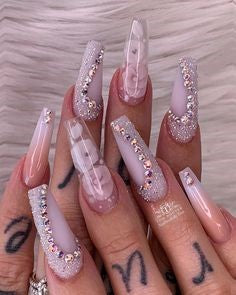 Crystal Long Nail Design