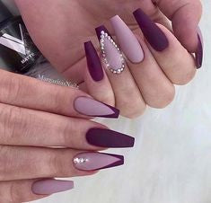 Purple Crystal Nail Design