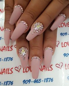 Matte Crystal Nail Design