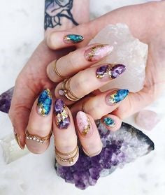 Colorful gem crystal nail design