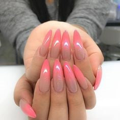 coral and red ombre nail design