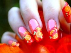 Fruit coral nail design