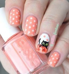 Pink spots Cute Cat Nail Design