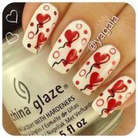 Love Balloon Valentine's Nail Art Idea