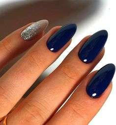 Blue Nail Polish Designs-11 Almond nails