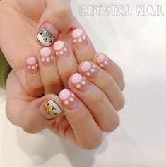 Pink cat footprints Nail Design