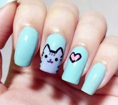 Blue Cute love Cat Nail Design
