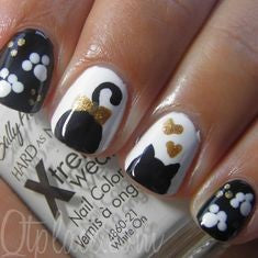 Black and Golden Cute Cat Nail Design