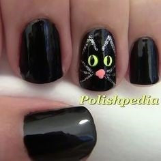 Silver and black Cute Cat Nail Design