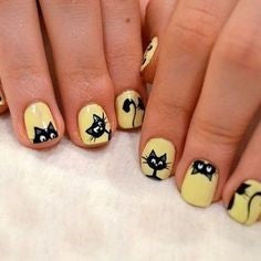 Yellow Cute Cat Nail Design