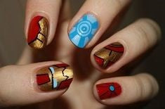Ironman Nail Designs-ironman and shield