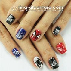 Spiderman Nail Designs- Spider and web