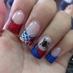 Spiderman Nail Designs- Spider and web Spiderman Nail Designs-blue and red