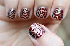 Spiderman Nail Designs-Matte spider web