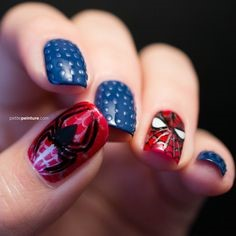 Spiderman Nail Designs- Blue spots