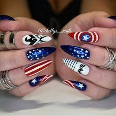 Captain America Nail Designs-shield and icon