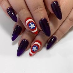 Captain America Nail Designs- Purple and shield