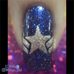 Captain America Nail Designs-star