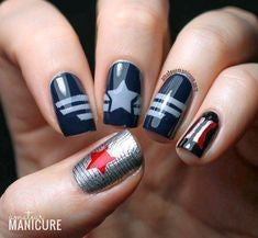 Captain America Nail Designs- Mirror Captain America