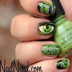 Hulk Nail Designs- Green eyes