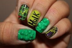 Hulk Nail Designs- Green bubbles