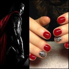 Thor Nail Designs- Red and silver stripes