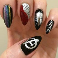 Thor Nail Designs- Rainbow bridge and lightning