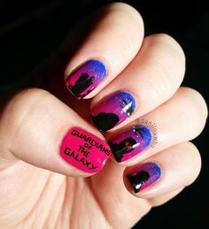 Guardians of the Galaxy Nail Designs- pink and black