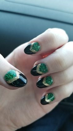 Loki Nail Designs-green golden and black