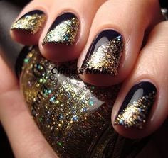 Hawkeye Nail Designs- Glitter gold and black
